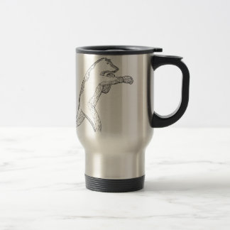 Grizzly Bear Boxing Doodle Art Travel Mug