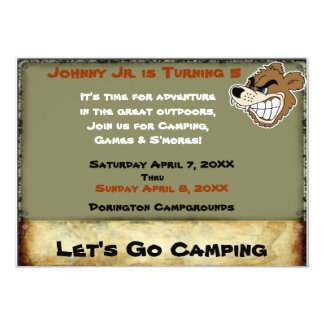 Grizzly Bear Campout Birthday Invite