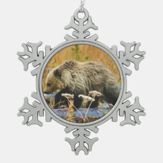 Grizzly Bear Cub Snowflake Pewter Christmas Ornament