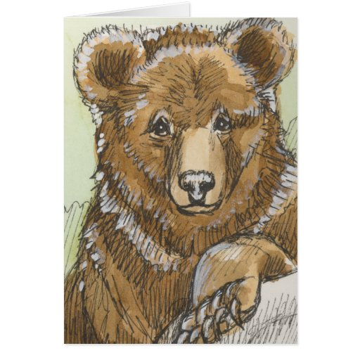 Grizzly Bear Cub Watching Greeting Cards