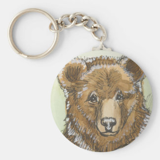 Grizzly Bear Cub Watching Keychain
