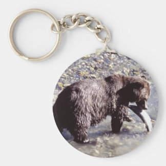 Grizzly Bear Eating a Salmon Basic Round Button Keychain