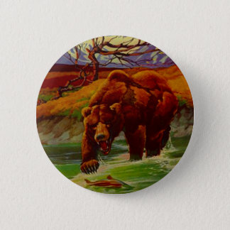 Grizzly Bear Fishing Wildlife Bears Gifts Gift 2 Inch Round Button
