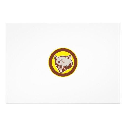 Grizzly Bear Head Circle Retro Personalized Invite