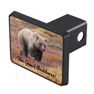 Grizzly Bear In Autumn Alaska Foliage Trailer Hitch Cover