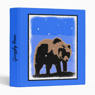 Grizzly Bear in Winter 3 Ring Binders