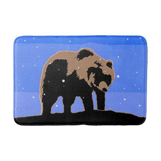 Grizzly Bear in Winter Bath Mat