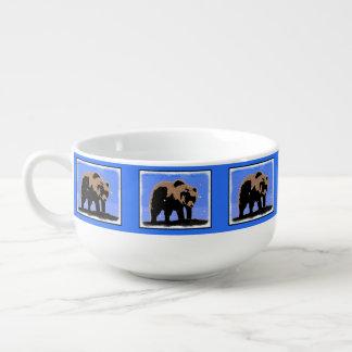 Grizzly Bear in Winter  - Original Wildlife Art Soup Mug