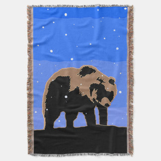 Grizzly Bear in Winter Throw Blanket