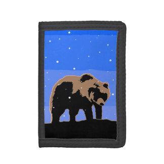 Grizzly Bear in Winter Tri-fold Wallets