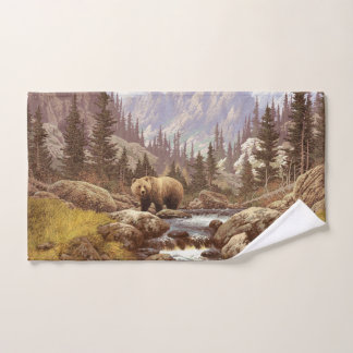 Grizzly Bear Landscape Hand Towel