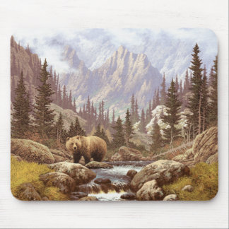 Grizzly Bear Landscape Mouse Pad