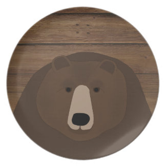 Grizzly Bear Melamine Plate