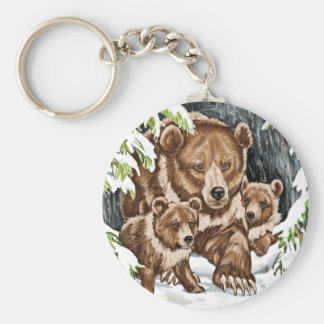 Grizzly Bear Mother and Cubs in Winter Keychain
