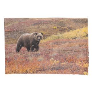 Grizzly Bear Moves Through Autumn Colors In Alaska Pillowcase