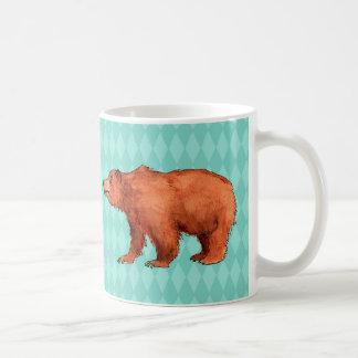 Grizzly bear on teal diamond pattern coffee mug