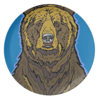 Grizzly Bear Party Plate