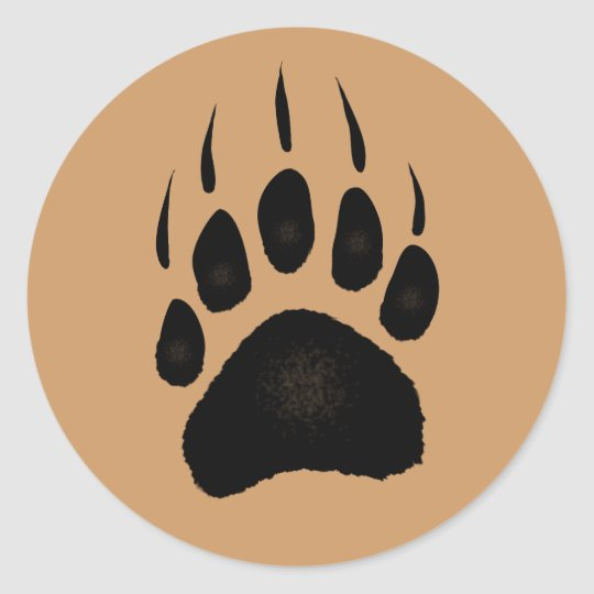 Grizzly Bear Pawprint Classic Round Sticker