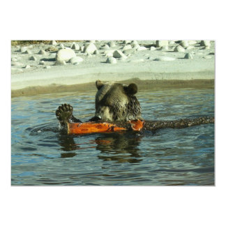 "Grizzly Bear Playing with Log 5"" X 7"" Invitation Card"