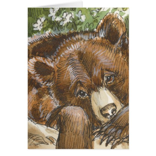 Grizzly Bear Resting Greeting Cards