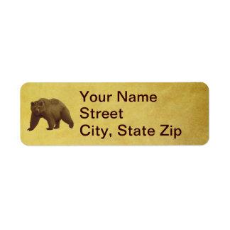 Grizzly Bear Return Address Label