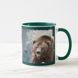 Grizzly Bear, Salmon & Waterfall Wildlife Art Mug