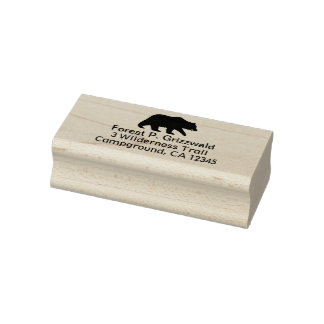 Grizzly Bear Silhouette Return Address Rubber Stamp