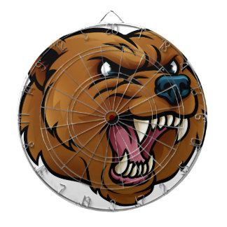 Grizzly Bear Sports Mascot Angry Face Dartboard