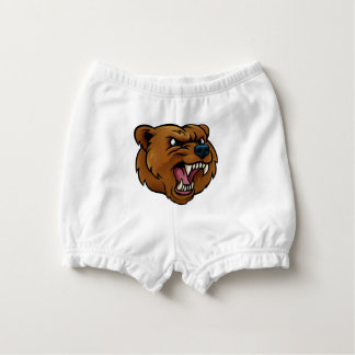 Grizzly Bear Sports Mascot Angry Face Diaper Cover