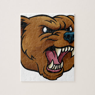 Grizzly Bear Sports Mascot Angry Face Jigsaw Puzzle