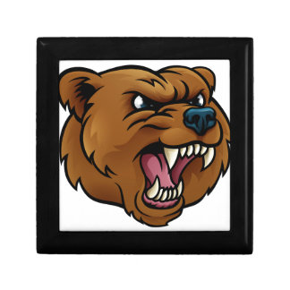 Grizzly Bear Sports Mascot Angry Face Keepsake Boxes