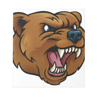 Grizzly Bear Sports Mascot Angry Face Notepads