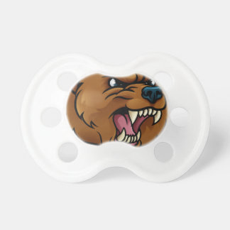 Grizzly Bear Sports Mascot Angry Face Pacifier