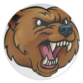 Grizzly Bear Sports Mascot Angry Face Plate