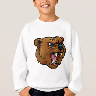 Grizzly Bear Sports Mascot Angry Face Sweatshirt