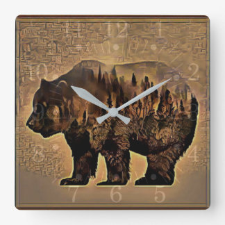 Grizzly Bear Square Wall Clock