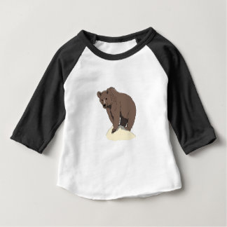 grizzly-bear-standing-on-rock-vector-clipart baby T-Shirt