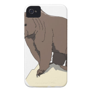 grizzly-bear-standing-on-rock-vector-clipart iPhone 4 cover