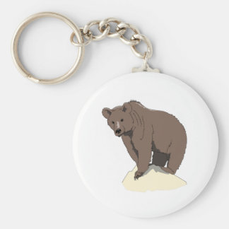 grizzly-bear-standing-on-rock-vector-clipart keychain