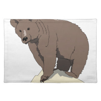 grizzly-bear-standing-on-rock-vector-clipart placemat