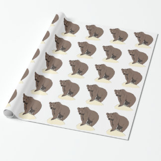 grizzly-bear-standing-on-rock-vector-clipart wrapping paper