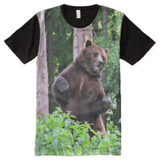 Grizzly Bear Standing Tall In The Woods All-Over-Print T-Shirt