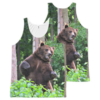Grizzly Bear Standing Tall In The Woods All-Over-Print Tank Top