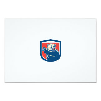 Grizzly Bear Swiping Paw Shield Retro Personalized Announcements