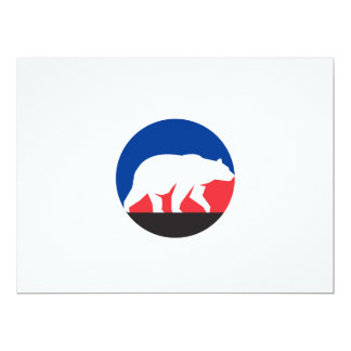 Grizzly Bear Walking Silhouette Circle Retro Card
