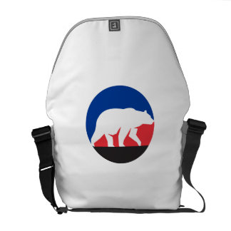 Grizzly Bear Walking Silhouette Circle Retro Courier Bag