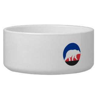 Grizzly Bear Walking Silhouette Circle Retro Dog Water Bowl