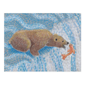 Grizzly Bear Waterfall Postcard