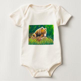 Grizzly Bear wildlife art Baby Bodysuit