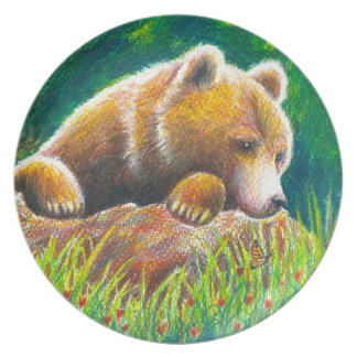 Grizzly Bear wildlife art Party Plates